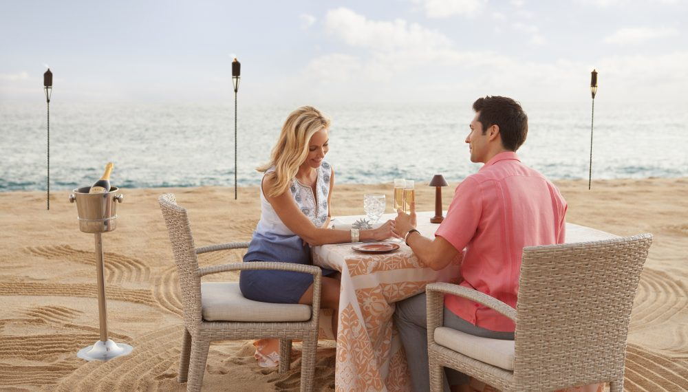 Romantic dinner on the beach at The Resort at Pedregal