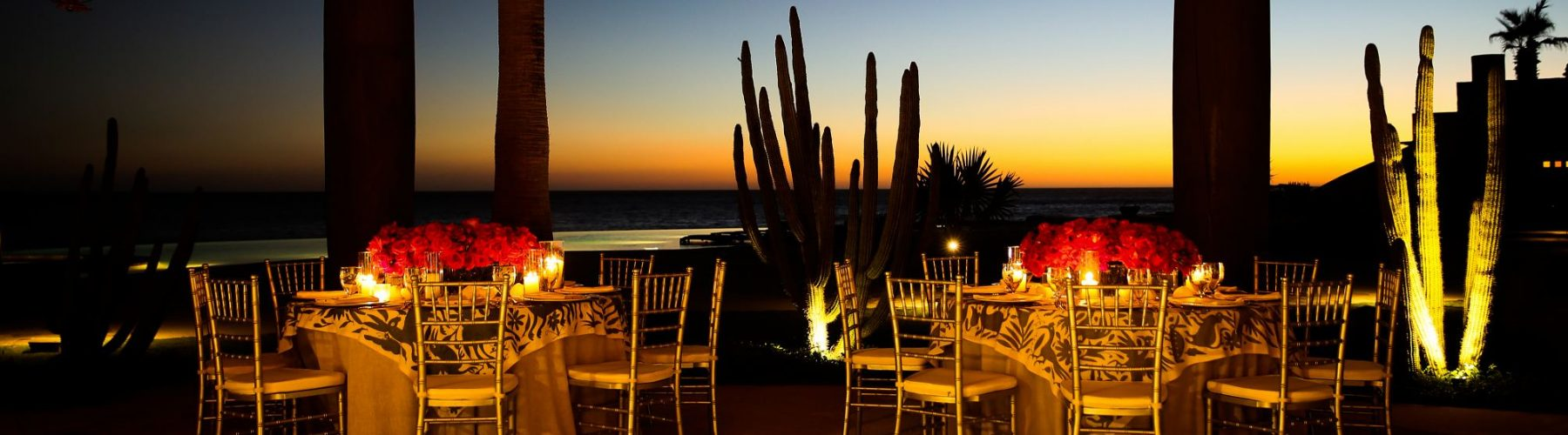 A luxury wedding reception in La Palapa at The Resort at Pedregal