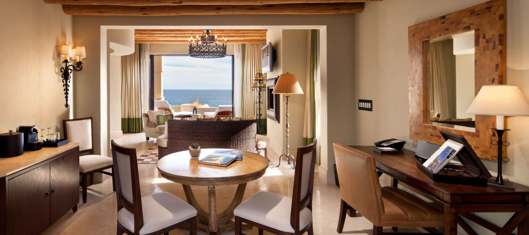 Luxurious interior of the ocean view room at The Resort at Pedregal