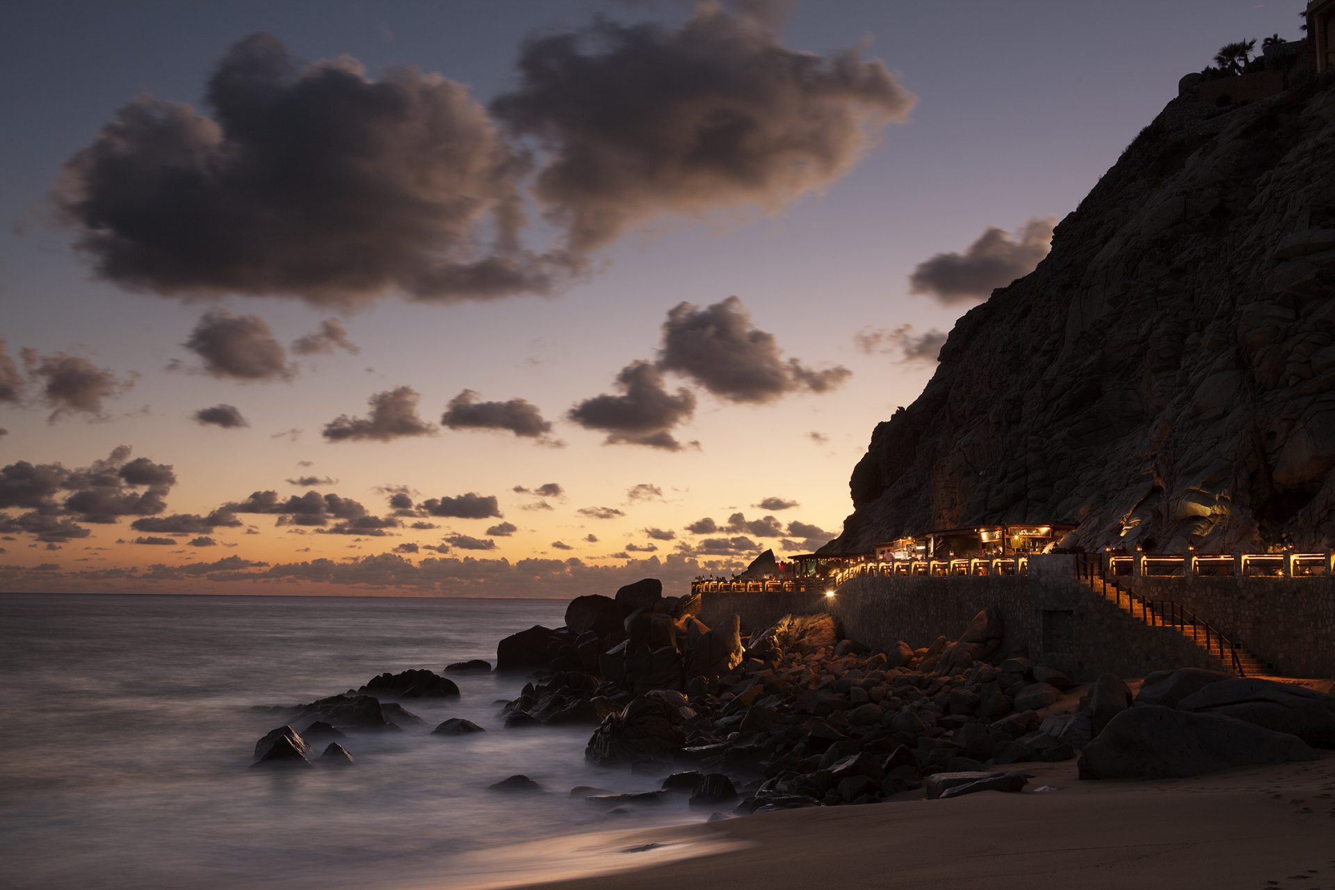 Sunset view and El Farallon at The Resort at Pedregal