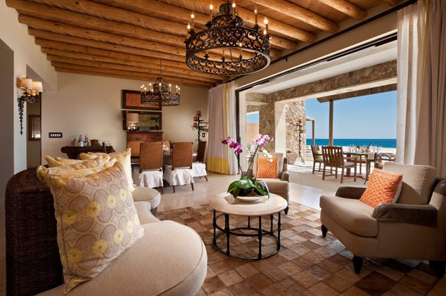 The luxurious 3-Bedroom Beachfront Suite, with dining room and private beach access at The Resort at Pedregal in Cabo San Lucas