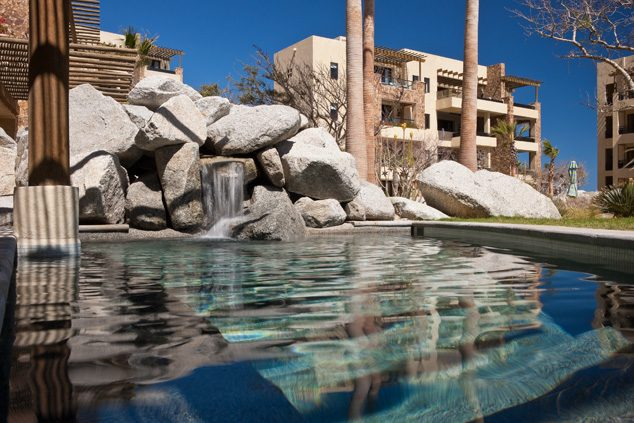 Sunny patio with pool at The Resort at Pedregal